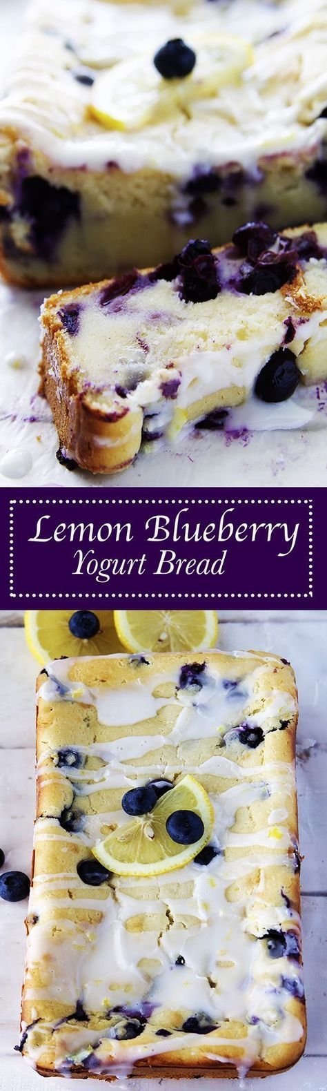 Lemon Blueberry Yogurt Bread Recipe via Fitness Food Diva - Bursting with blueberries, flavored just perfectly with lemon zest, and topped off with a lite lemon glaze, this is amazing for Summer.