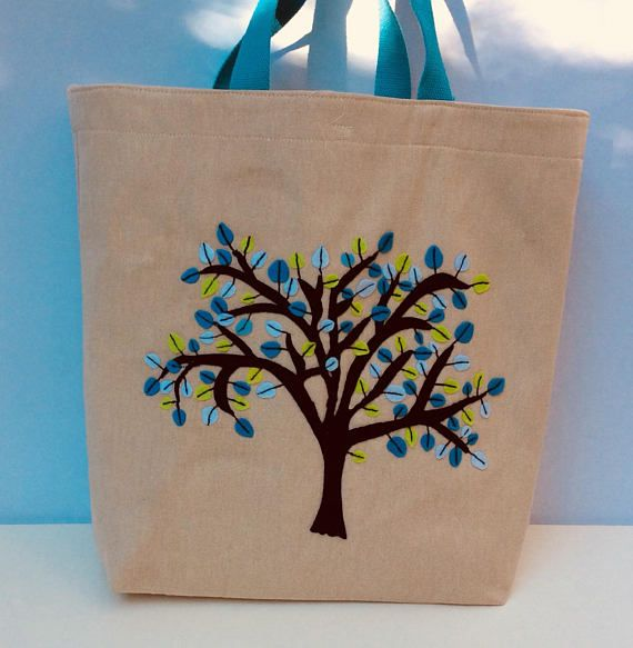 Oversized canvas tote bag  hand  embroidered tree with blue
