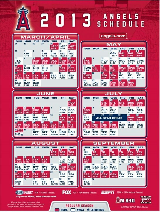 #2013 #Angels Baseball schedule.