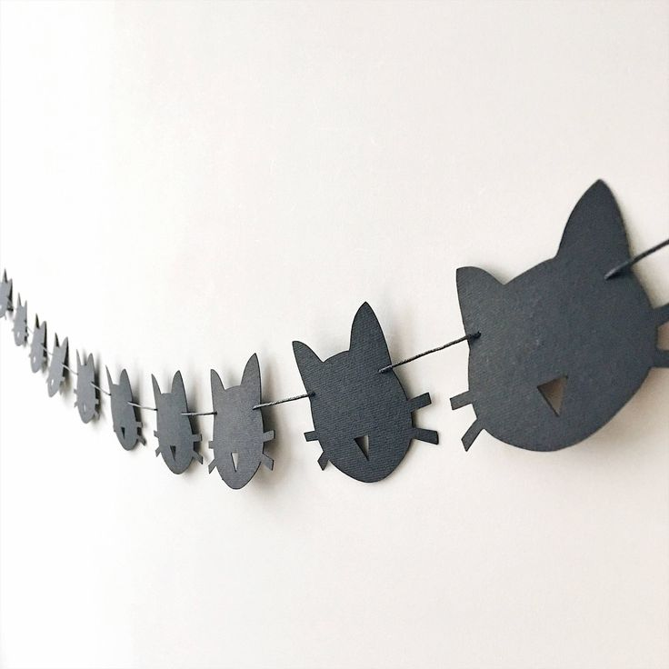 Excited to share the latest addition to my #etsy shop: Cat Paper Garland Black Cat Birthday Party Decorations Bachelorette Party Decoration Kitten Birthday Garland Meow Birthday Banner Girls Room
