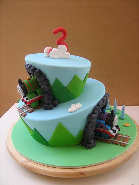 topsy turvy thomas cake by Sweet Disposition Cakes via Flickr