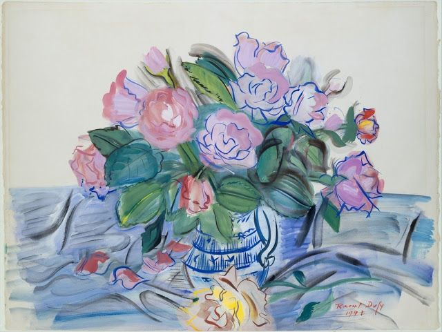 ¤* Roses in a Blue Bowl 1941 - Raoul Dufy