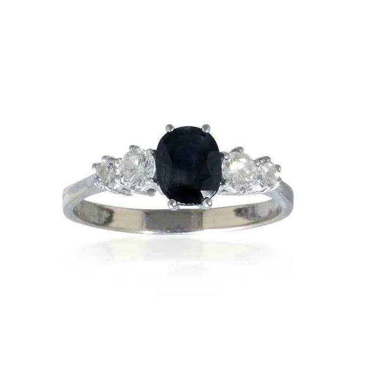 Saphir-Diamantring mit 0,41ct Diamant und ovalem facettiertem 0,76ct Saphir in Weissgold #Schmuck #Schmuckboerse #vintage #verlobung #diamant #brillant #schmuck #saphir