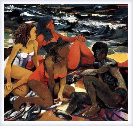 Quattro figure sulla spiaggia, 1957, Renato Guttuso.
