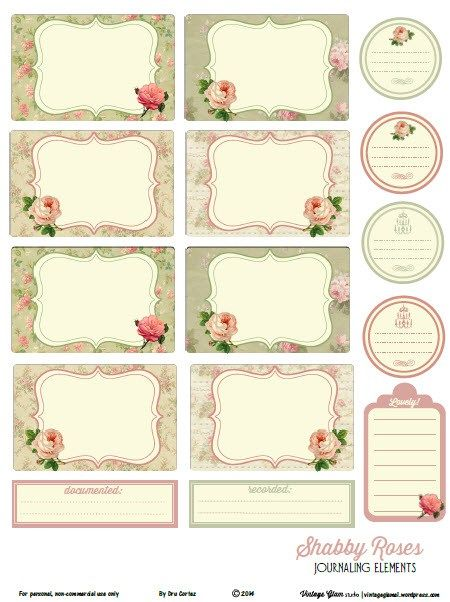 Free Shabby Roses Journal Cards and Labels from Vintage Glam Studios