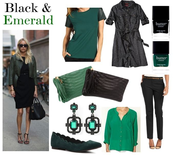 Fall Color Combo: Black & EmeraldColors Combos, Fashion Ideas, Color Combos, Style, Fall Colors, Clothing, Colors Combinations, Idée Mode, Stylish Outfit Buy