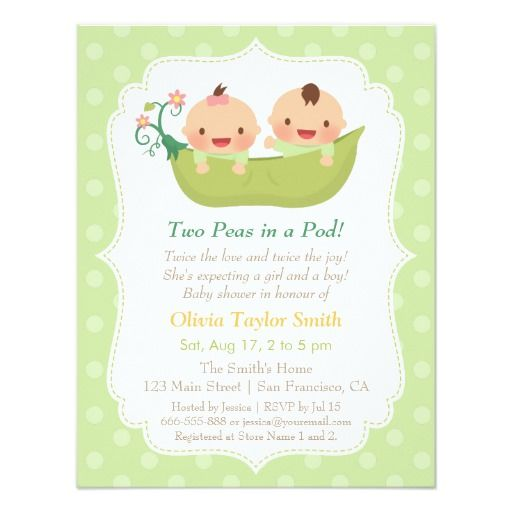 323 best Twins Baby Shower Invitations images on Pinterest Twin