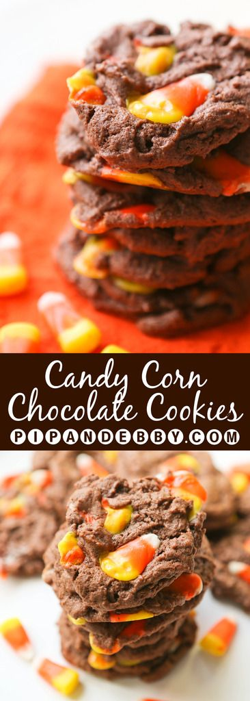 Chocolate Candy Corn Cookies | A yummy way to use up extra candy corn!