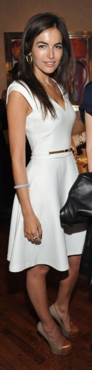 Who made Camilla Belle's white belted v neck dress, jewelry, platform brown pumps and handbag that she wore in New York on April 19, 2012? Dress – Reiss  Shoes – Yves Saint Laurent  Purse – Ralph Lauren  Jewelry – David Yurman