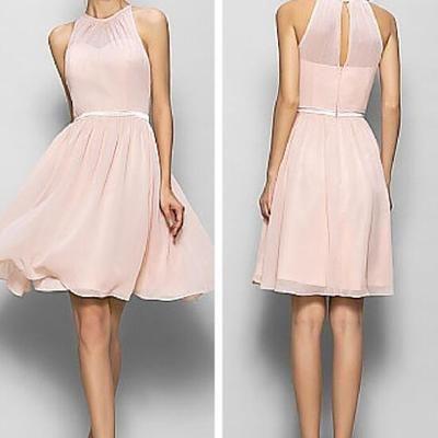 A178 o neck knee length bridesmaid dresses, halter pink prom dress, chiffon short bridesmaid dresses