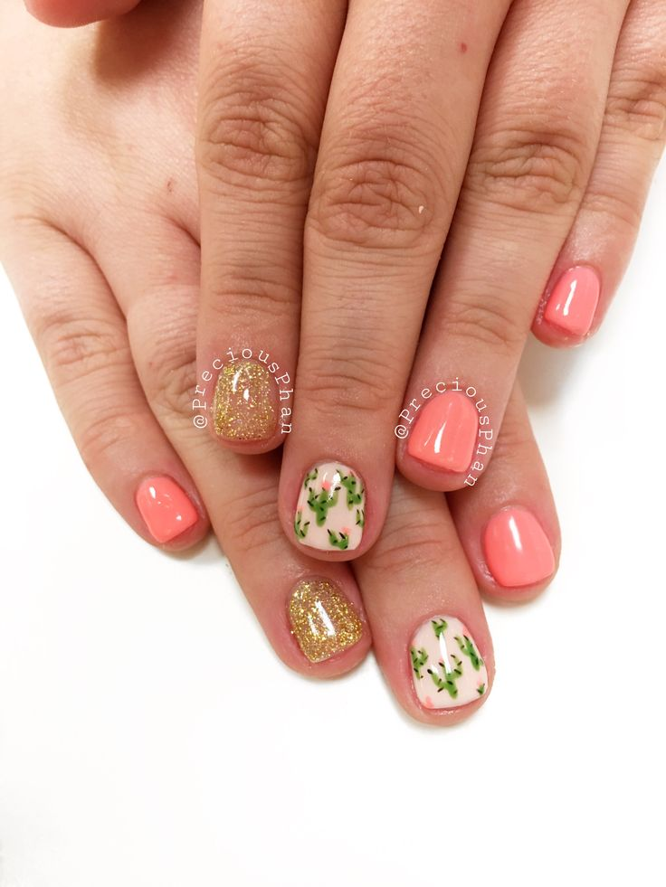Cactus nails. Peach nails. Spring nails. Arizona nails. #PreciousPhan