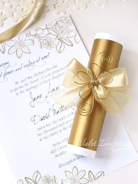 Flor oro desplazamiento invitación muestra, hecho a mano boda invitación pergamino, oro boda, invitación de cumpleaños desplazarse, desplazamiento oro invitación