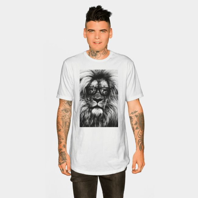 Hipster lion black and white T-Shirt