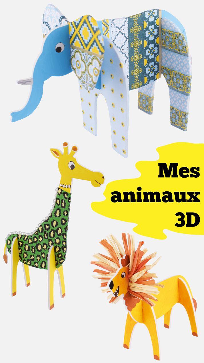 animaux 3d embo ter et d corer activit facile pour les. Black Bedroom Furniture Sets. Home Design Ideas