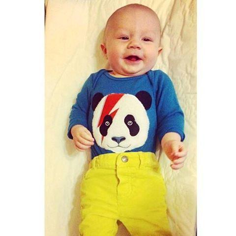 Black Wagon (@blackwagon) | Happy baby rocking our #MilkontheRocks #panda onesie!♥♥♥ Thanks for sharing this photo of your sweet + awesome babe!!! #blackwagonkids #pandaonesie #ziggypanda #ziggystardustpanda #happybaby | Intagme - The Best Instagram Widget