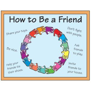 Friendship Wreath Display.  Give each child a hand pattern and him color it.  Staple hands to bulletin board in a wreath shape.  Next, ask children to give examples of how to be a good friend.  Write answers around wreath.