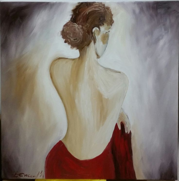 "Oil on canvas ""Lady in red"""