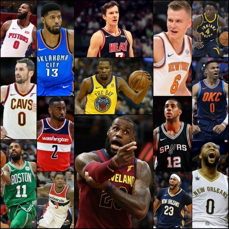 The Team LeBron NBA All-Stars - Starters: LeBron James (G, 14), Kyrie Irving (G, 5), Kevin Durant (F, 9), Anthony Davis (F, 5), & DeMarcus Cousins (F, 4, INJ). Reserves: Kevin Love (F, 5, INJ), John Wall (G, 5), Bradley Beal (G, 1), Kristaps Porzingis (F, 1), LaMarcus Aldridge (F, 6), Russell Westbrook (G, 7), Victor Oladipo (G, 1), Paul George (F, 5, REP), Andre Drummond (F, 2, REP), & Goran Dragic (G, 1, REP).