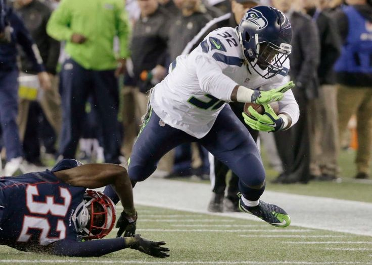 Seahawks vs. Patriots:  31-24, Seahawks  -  November 10, 2016  -   Seattle Seahawks running back Christine Michael, right, eludes New England Patriots defensive back Devin McCourty, left, during the first half of an NFL football game, Sunday, Nov. 13, 2016, in Foxborough, Mass.