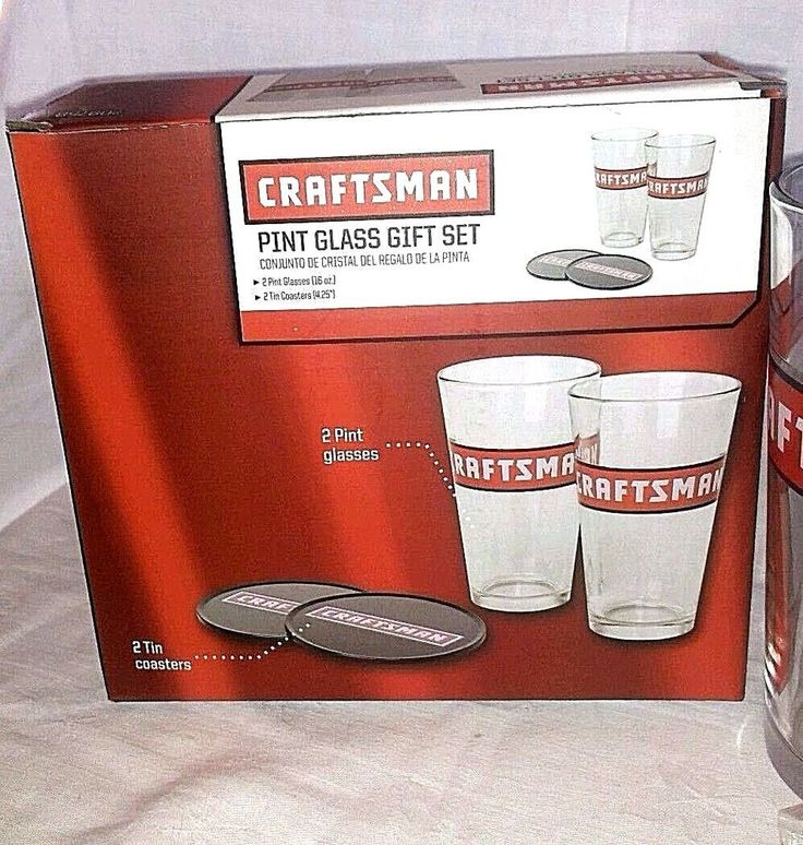Pint Beer Glass Gift Set Craftsman Tools 2 Pint Glasses & Coasters  #Craftsman