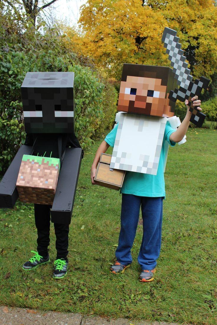 Chic diy minecraft steve and enderman costume - 2014 Halloween party #Halloween #minecraft #enderman