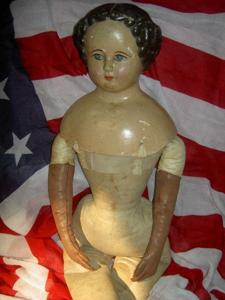 """замечательный большой 27 """"антикварная папье маше кукла Orig. редкая коричневые волосы и ткани тела"""