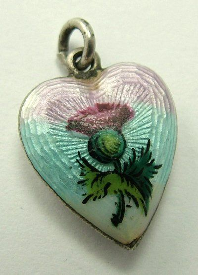 Edwardian Silver & Guilloche Enamel Thistle Puffy Heart Charm