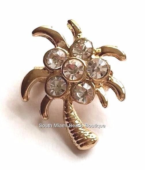 Gold Plated Crystal Palm Tree Pin Brooch Coconut Island Beach Tropical USASeller #SouthMiamiBeachBoutique