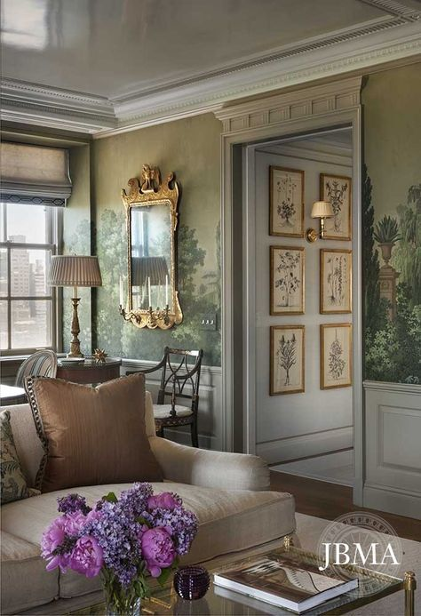 Fifth Avenue Apartment Habituallychic Stunning Living Room With A Wonderful Wall Mural And Earthy But Elegant Colors Note The High Gloss Painted Ceiling
