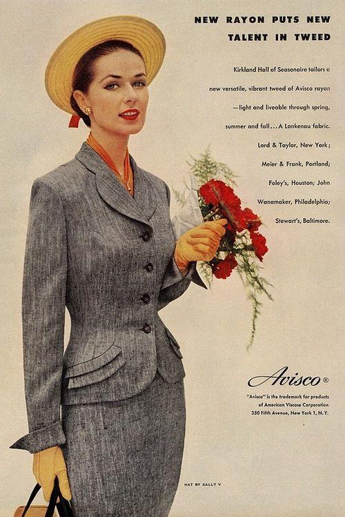 A ladies suit by Kirkland Hall in Avisco rayon tweed, 1950s