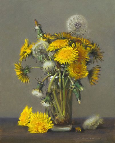 I have always loved the dandelion - I know that it is a weed and can destroy a nice green lawn, but the joy of braiding the flower/stem into a coronet on a little girl's head to blowing the seed pods up into the windy day!  art by Jeffrey Larson
