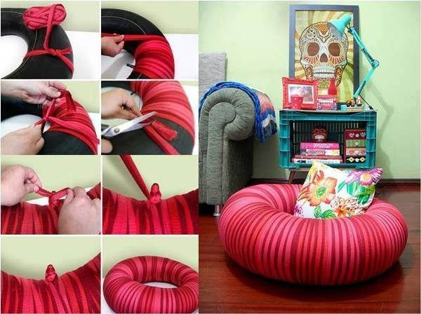 How to Make Pouf Chair from Old Tire #DIY #furniture #repurpose