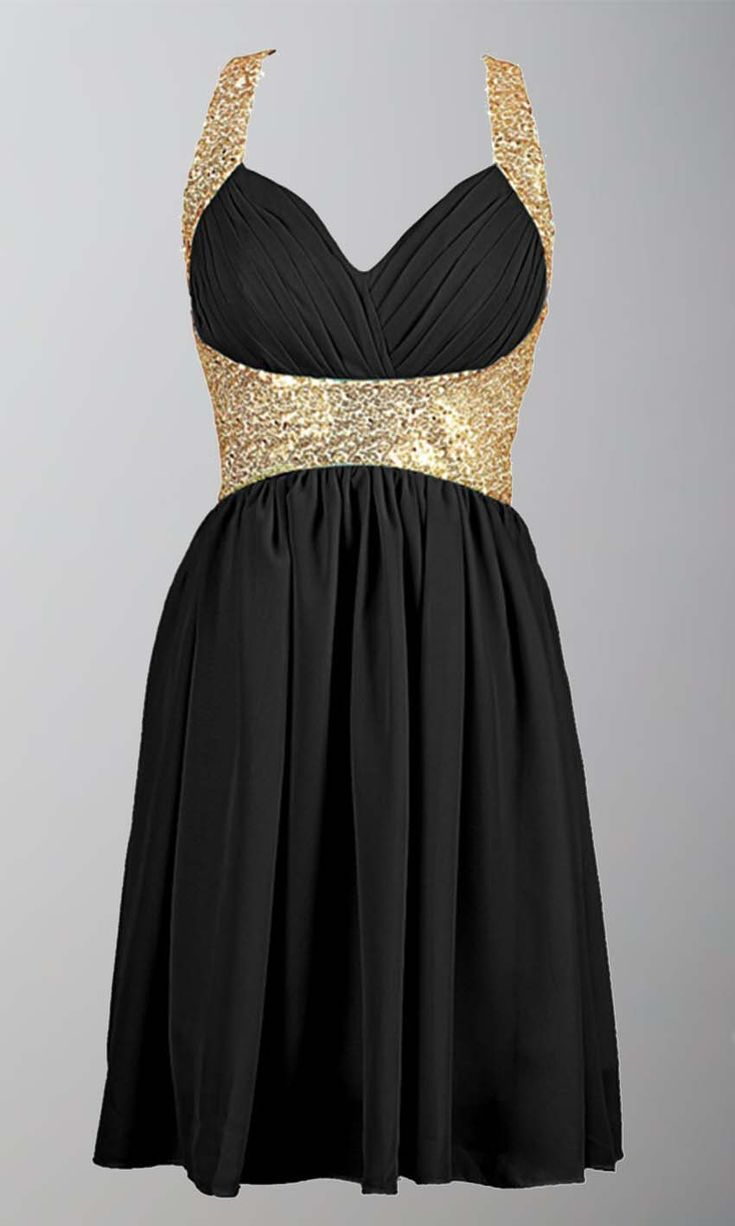 Black and Gold Sequin Short Prom Dresses UK KSP380