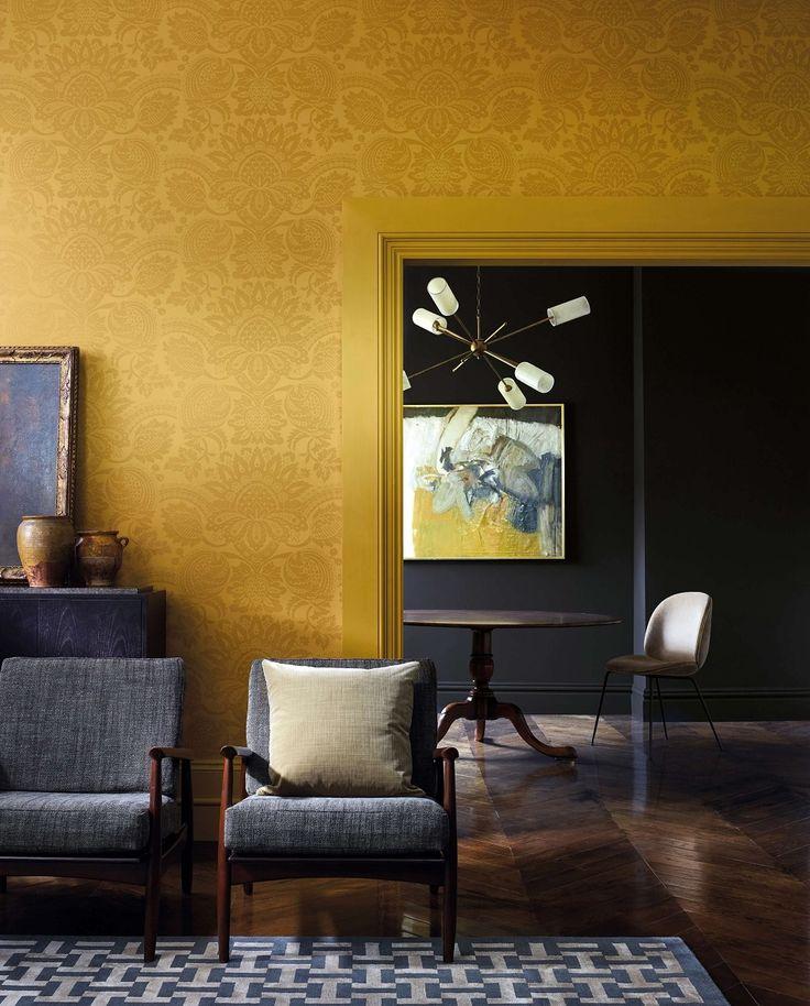 pomegranate damask wallpaper in 2020  sitting room decor