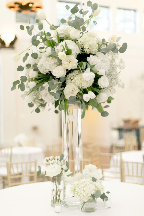 white and green centerpieces / http://www.deerpearlflowers.com/greenery-eucalyptus-wedding-decor-ideas/3/