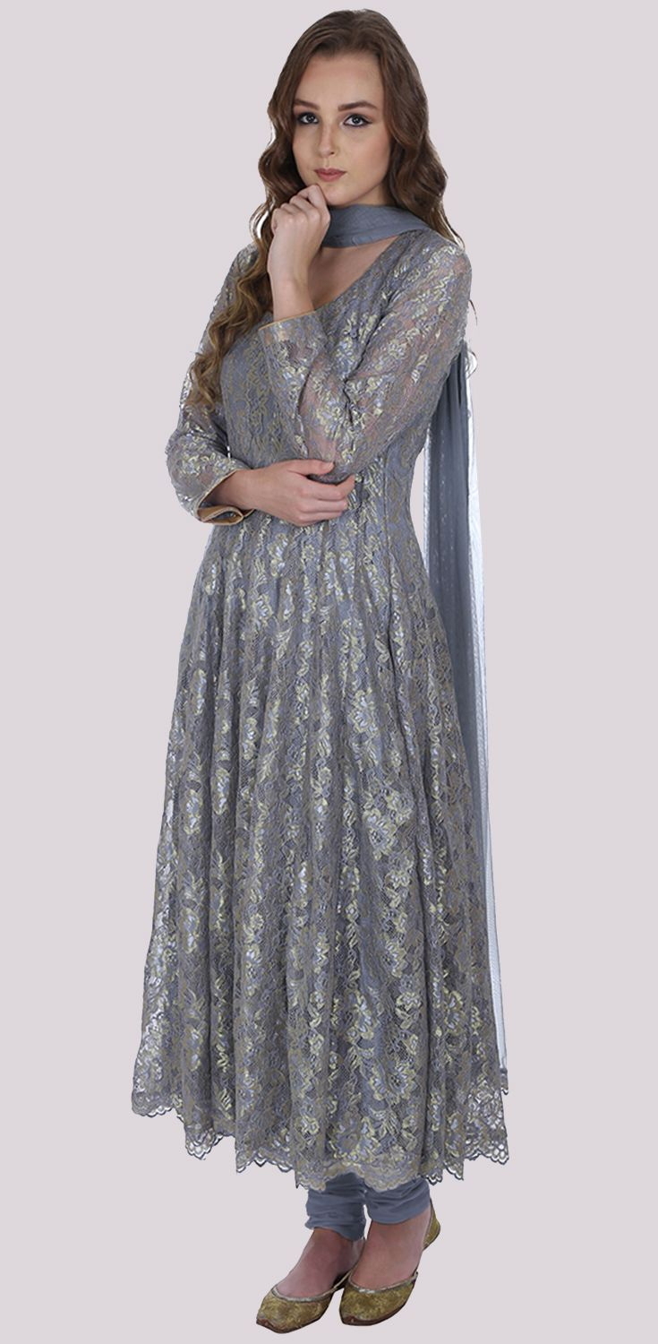 Eid 2017 Collection: Grey-Gold Lace Anarkali Suit With Dupatta