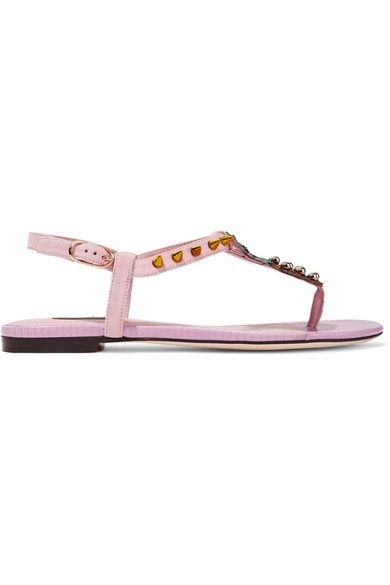 Dolce & Gabbana - Embellished Suede And Lizard-effect Leather Sandals - Pastel pink - IT