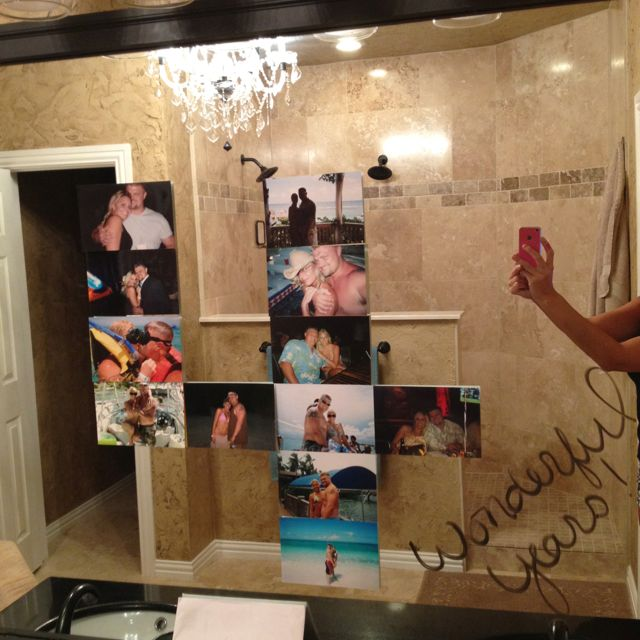 4 year Anniversary idea ..well any anniversary using the bathroom window and pictures to create number of years together :)