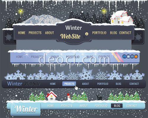 782_deoci.com_4 Winter websites the menu Christmas the snowflake theme designed templates illustrator EPS file free download