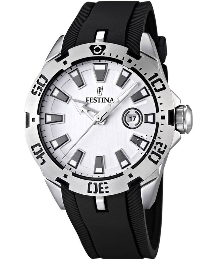 FESTINA Black Rubber Strap Silver Dial Τιμή: 108€ http://www.oroloi.gr/product_info.php?products_id=36422