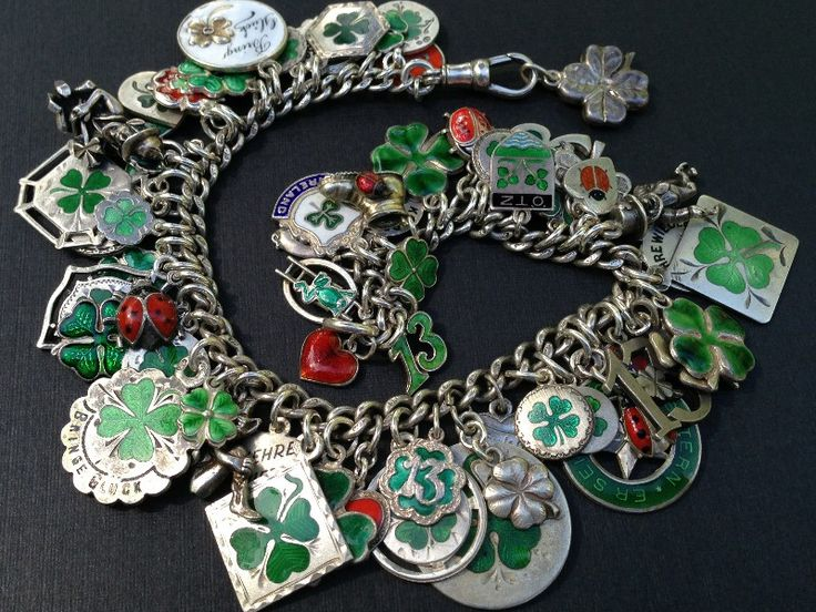 "Vintage Charm Bracelet Collection - ""Clovers & Shamrocks"" - Silver & Enamel Charm Bracelet"