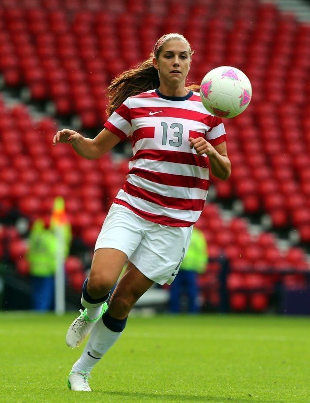 Alex Morgan of USA controls the ball during the Women's Football first round Group G match between United States and Colombia on Day 1 of the London 2012 Olympic Games at Hampden Park on July 28, 2012 in Glasgow, Scotland
