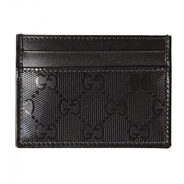 Gucci Black Leather Guccissima Card Holder ($145) ❤ liked on Polyvore featuring men's fashion, men's bags, men's wallets, mens leather credit card holder wallet, gucci mens wallet, mens card holder wallet, mens card case wallet and mens leather card case wallet