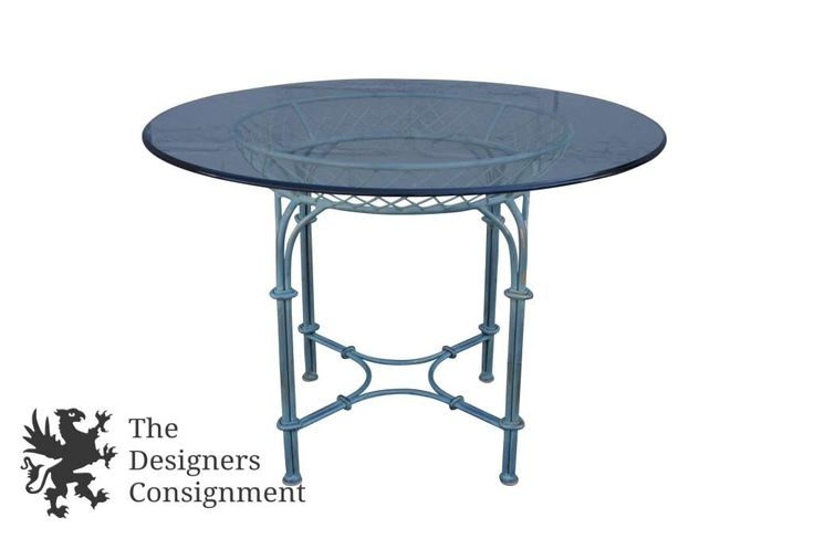 "Lane Altavista Wrought Iron Turquoise Patio Table 42"" Round Glass Top 1997 Vtg 