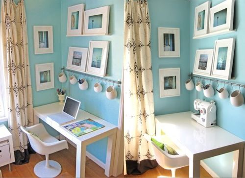 Loving this color w/ bright white for a craft room.: Crafts Rooms, Blue Wall, Workspace, Offices Spaces, Small Offices, Work Spaces, Offices Ideas, Art Supplies, Home Offices