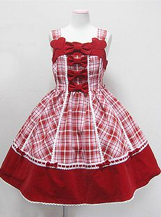 Angelic Pretty / Jumper Skirt / Dolce Tartan Velveteen Switching JSK