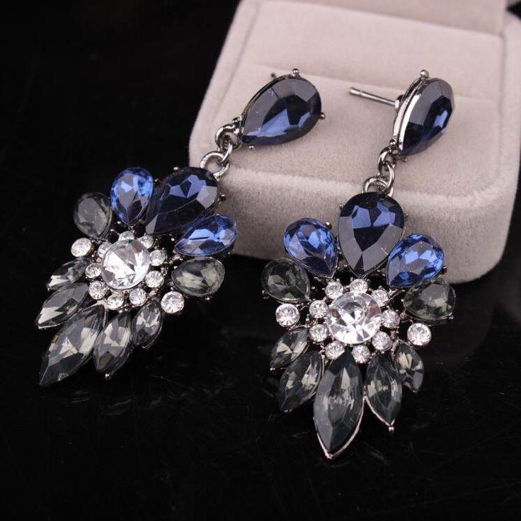 Blue Black Clear Dangle Drop Rhinestone Prom Long Crystal Pageant Earrings #Unbranded #DropDangle
