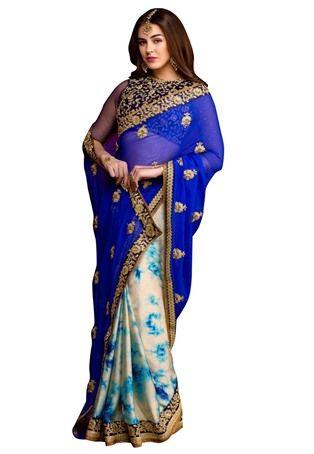 Royal Blue Chiffon,Satin Party Wear Saree #nikvik #usa #designer #australia #canada #freeshipping #wedding