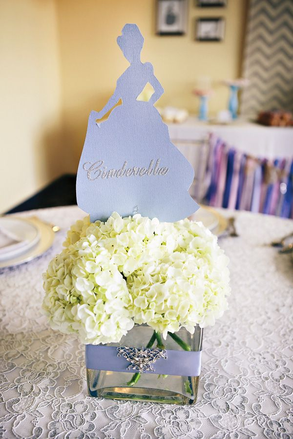 Beautiful Centerpiece - could use different princesses and see if Val still has those vases