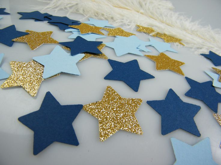 Twinkle Twinkle Little Star baby shower Confetti Gold & Blue Party Decoration / Glitter  / 1st Birthday / Its a Boy Baby Shower / 100 pcs by MorrellDecor on Etsy https://www.etsy.com/listing/267873523/twinkle-twinkle-little-star-baby-shower